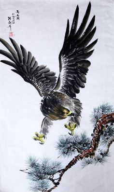 水彩画、絵画 「動物画」 鷹2 北朝鮮1級画家肉筆保証_画像1 Japan Art, Animal Paintings, Bald Eagle, Auction, Creatures, Bird, Animals, Japanese Art, Animales