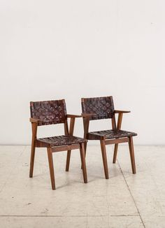 Ralph Rapson; Wood and Leather Armchairs for Knoll and Associates, 1940s.