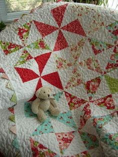 Ruby Baby  Pinwheel Quilt by WoodenNeedleNook on Etsy, $163.00
