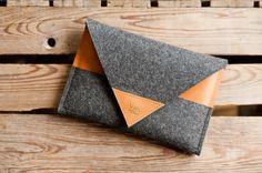 MacBook Bag Rough Edge leather wool felt universal by TheNavis