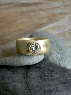 Moissanite+and+14k+Yellow+Gold+Banded+Ring+Green+by+onegarnetgirl,+$1698.00