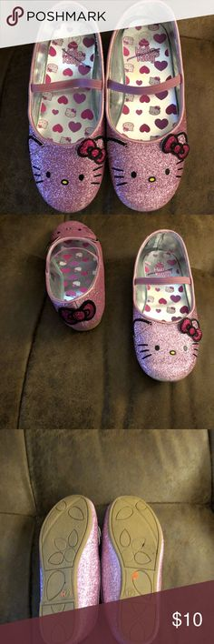 Toddler Girls Hello Kitty Slip ons Sz 12 Toddler Girls Sparkly Hello Kitty Slip Ons  Sz 12  Worn once and were to small Excellent Used Condition Hello Kitty Shoes Dress Shoes