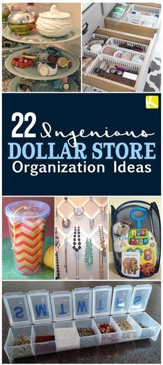 22 Ingenious Dollar Store Organization Ideas - Looking for cheap DIY household organization? e Bprepared to head to the closest dollar store for organization solutions for your bedroom, bathroom, kitchen and beyond! Organisation Hacks, Household Organization, Storage Organization, Craft Storage, Storage Ideas, Dollar Store Organization, Storage Solutions, Bedroom Organization Diy, Kitchen Organization