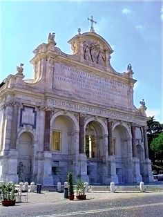 """The Fontana dell'Acqua Paola also known as Il Fontanone (""""The big fountain"""") is a monumental fountain located on the Janiculum Hill, near the church of San Pietro in Montorio, in Rome, Italy. It was built in 1610-12 to mark the end of the Acqua Paola acqueduct, restored by Pope Paul V, and took its name from him. It was the first major fountain on the left bank of the Tiber River."""