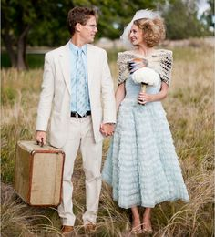 Love this vintage inspired baby blue wedding dress!