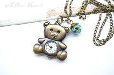 Uhrenketten - ✼ Mein Teddy ✼ Kettenuhr - ein Designerstück von LiAnn-Versand bei DaWanda