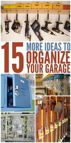 Ideas to Organize Your Garage Great ways to finally take back our garage! These fifteen organization hacks will save you big time.Great ways to finally take back our garage! These fifteen organization hacks will save you big time. Garage Workshop Organization, Garage Tool Storage, Workshop Storage, Garage Tools, Shed Storage, Diy Storage, Garage Shop, Storage Ideas, Lumber Storage