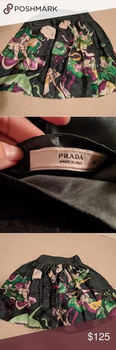 Flowy Green Prada skirt Iconic printed skirt Prada Skirts A-Line or Full