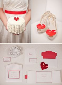 Heart Cake with the heart shoes and the invite