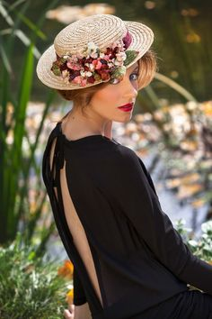 Sombrero canotier para bodas y eventos