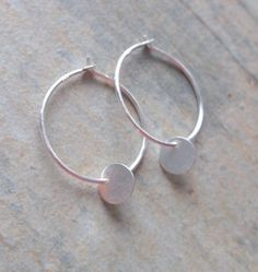 Sterling Silver 18mm Hoop Earrings with Circular Disc Charms £10.00 Silver Color, Free Gifts, Charms, Hoop Earrings, Sterling Silver, Jewelry, Jewels, Silver Paint, Corporate Gifts