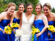 royal blue bridesmaids dress with yellow flowers !!