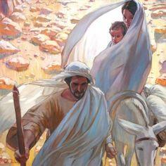 Mary, Joseph, and Christ leaving Bethlehem.