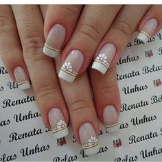Summer is hot, you should learn the design of these 12 nails and be bold to use the color. Shellac Nails, Manicure And Pedicure, Toe Nails, Acrylic Nails, French Nails, Judy Nails, Natural Nail Designs, Daisy Nails, Oval Nails
