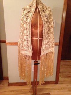 Vintage Ivory Silk Crochet Shawl  Bridal Shawl  by SimplyAgain