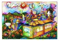 """《愛麗絲白兔子系列——瘋茶會》 小時候很喜歡纜車,但是現在是一種奢侈。光是排隊已經去掉很多時間。  其次,我也很喜歡《瘋茶會》這一章,我今天仔細閲讀的時候才發現,我給三月兔漏畫了稻草,而正文的時鐘停留在""""六點鐘""""。可是現在無法修正,因爲畫作也噴了固定劑!  不過,《愛麗絲夢游仙境》的原畫作中也有出現差不多的事情。原來Lewis Carroll 和 John Tenniel沒有溝通好,愛麗絲桌面前沒有奶油麵包和盤子,三月兔前沒有牛奶瓶。Lewis只好在《幼年愛麗絲》補完說""""盤子和牛奶藏在大茶壺後面。""""——所以看完這一章,也覺得這是很有趣的番外情節。"""