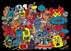 'funny monsters pattern coloring book' by Chris olivier Graffiti Wall, Wall Murals, Framed Prints, Canvas Prints, Art Prints, Graffiti Cartoons, Funny Monsters, Black And White Background, Doodle Art