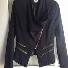 "Black Jacket Adorable jacket. Great with jeans.  Picture 2 shows true color of jacket.  Other pictures show details but color off.  Zipper pull tag sometimes turns to side but is easily returned to correct position.  Back-shoulder to hem 21"". Front-shoulder to bottom V 25"".  Good condition.  Chic. Tops"