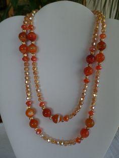 pjtes : Le pietre della salute: collana rope in AGATA STRIATA arancione