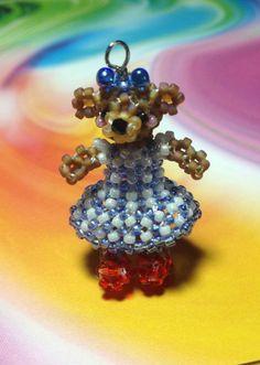 Miniature Seed Bead Brown Teddy Bear In Wizard Of Oz Dorothy Dress Doll Charm