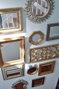 Stair wall mirror gallery- I love mirrors! I like this idea for our stairs being it seems like it's a tight/dark stairway
