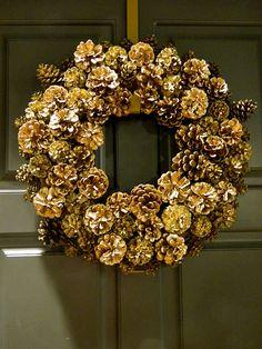 DIY Gold Pinecone Wreath