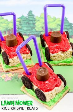 These clever Lawn Mower Rice Krispie Treats are a totally unique summer treat! P… These clever Lawn Mower Rice Krispie Treats are a totally unique summer treat! Perfect for Dad's birthday party or Father's Day dessert. Rice Recipes For Dinner, Dessert Recipes, Popcorn Recipes, Dessert Food, Party Desserts, Fudge Recipes, Party Snacks, Good Food, Yummy Food