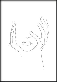 Add a modern character to your home's interiors with our poster from minimal collection. See our beautiful Hands On Face Line Art Poster. Face Outline, Outline Art, Outline Drawings, Art Drawings Sketches, Minimalist Drawing, Minimalist Art, Hands On Face, Hand Lines, Line Art Design