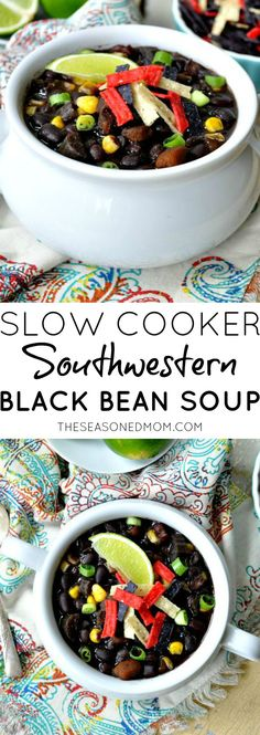 This Slow Cooker Southwestern Black Bean Soup is an ideal comfort food dish for football parties and tailgating, or it makes an easy dairy-free, vegetarian, and gluten-free weeknight dinner! #MeatlessMondayNight #ad