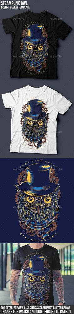 Steampunk Owl T-Shirt illustration Design Template Vector EPS, Transparent PNG, AI Illustrator. Download here: http://graphicriver.net/item/steampunk-owl-tshirt-design/16048272?ref=ksioks