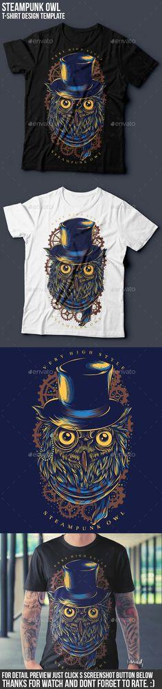 Steampunk Owl T-Shirt illustration Design Template Vector EPS, Transparent PNG, AI Illustrator. Download here: http://graphicriver.net/item/steampunk-owl-tshirt-design/16048272?ref=ksioks