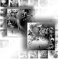 1 inch art digital collage downloads for scrabble tiles images jewelry making paper supplies black white floral swirl