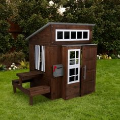 Loving this KidKraft Espresso Modern Outdoor Play House on Outside Playhouse, Backyard Playhouse, Build A Playhouse, Wooden Playhouse, Playhouse Ideas, Cubby Houses, Play Houses, Outdoor Toys, Outdoor Play