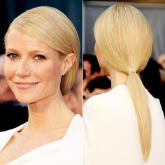 """""""I loved the shape of Gwyneth Paltrow's dress and wanted to mimic the architectural lines in the hair,"""" Frederic Fekkai hairstylist Adir Abergel told us of the star's low ponytail. """"I wanted it to have a mirror-finish. Oscar Hairstyles, Ponytail Hairstyles, Cool Hairstyles, Easy Hairstyle, Hairstyles Haircuts, Red Carpet Hair, Stylish Haircuts, Long Wavy Hair, Gwyneth Paltrow"""