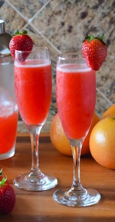 Strawberry Grapefruit Mimosas for my friends.