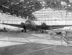 Captured by the Allies dismantled German Heinkel bomber He.177 'Greif'.