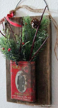 Rustic Repurposed Christmas Tobacco Tin (Beyond The Picket Fence) – Craft Primitive Christmas Decorating, Prim Christmas, Winter Christmas, Christmas Holidays, Homemade Christmas, Primitive Decor, Christmas In The Country, Country Christmas Crafts, Primitive Country Christmas