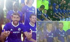 DIEGO COSTA pulls scary face during Chelsea team photo as striker plays the joker at Cobham training ground...