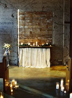 Inspiration Shoot on Style Me Pretty -- Industrial Space for Wedding Ceremony. See more here: http://www.StyleMePretty.com/2014/03/13/winter-industrial-inspiration-ginger-spice-sparkler-recipe/ Photography: Ashley Kelemen