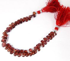 "1 Strand Natural Rhodolite Garnet Pear Drilled Faceted Briolette 4x6mm 7"" Long"