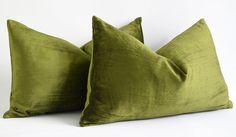 12x20 designer pillows - Green Decorative Pillow Cover - Lumbar Weight Cotton Velvet - Invisible Zipper Closure - Velvet lumbar pillow