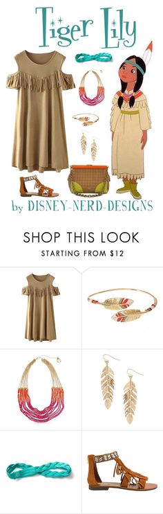 """""""Tiger Lily"""" by disney-nerd-designs ❤ liked on Polyvore featuring Gas Bijoux, Erica Lyons, Humble Chic, Athleta, Steve Madden, Prada, disney, peterpan, disneybound and tigerlily"""