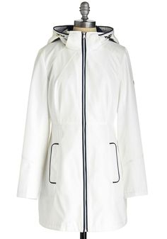 Perfect for Puddles Raincoat. Awaking to the sound of raindrops is both soothing and exciting when you have this white raincoat to wear in the weather! #white #modcloth