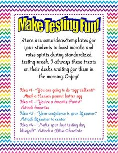 FREE Standardized Testing Treat Templates - Tanya Villacis - TeachersPayTeachers.com