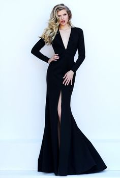 Sexy mermaid prom dress features long sleeves, open back. Plunging V-neck and front slit on skirt is the highlight of this dress. Black color.