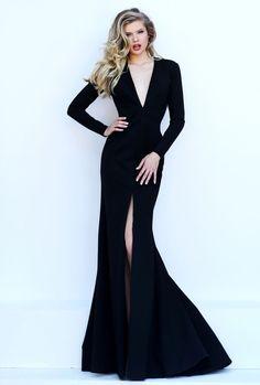 long sleeves open back v neck slit front black mermaid prom dress