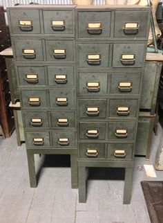 Vintage File Cabinet Industrial 8 Drawer Box 3537wide x 1825