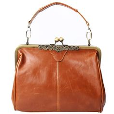Webcajk Luxe Rétro Vintage dames de femmes de bourse de sac à main d'épaule baiser verrouillage Cross Body emballages de sac de Satchel, PU poignée en cuir Sac à bandoulière