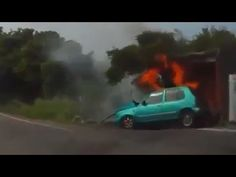 Speeding motorcyclist crashes into a car and it catches on fire