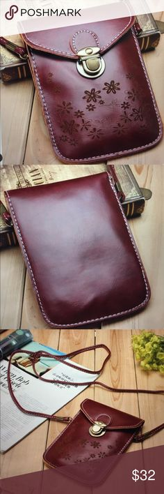Mini Cross-body Phone Wallet Purse/New Great and functional wallet purse for your phone and credit cards/ID, in wine red faux leather looks beautiful.....size is 5x7 inches Boutique Bags Crossbody Bags